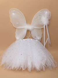 SET / Small Wings / tutu and wand set in white.