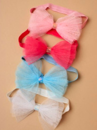 Bandeau / Children's elastic bandeau with glitter net bow.