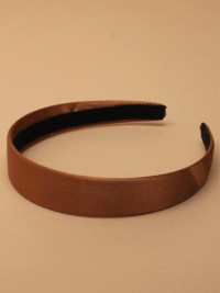 Aliceband / 2.5cm wide brown satin fabric aliceband