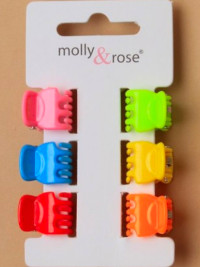 Clamp / 6 pack curved mini clamps in 6 bright colours.